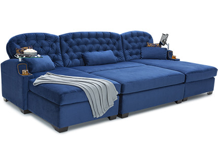 Cavallo Chateau Media Lounge Sofa Bella Fabric, Top Grain Leather 7000, 60+ Colors