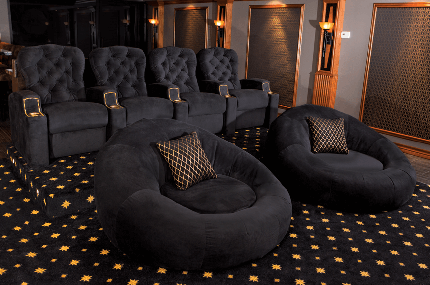 Monarch Cuddle Seat Package: Monarch Home Theater Seats and Cuddle Seats, Bella Fabric Black, Chocolate or Red