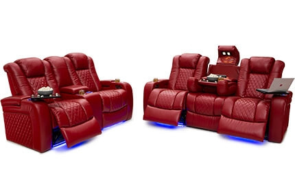 Seatcraft Anthem Media Room Set Top Grain Leather 7000, Power Headrests, Power Recline, Black, Brown or Red