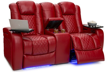Seatcraft Anthem Loveseat Top Grain Leather 7000, Power Headrests, Power Recline, Black, Brown or Red