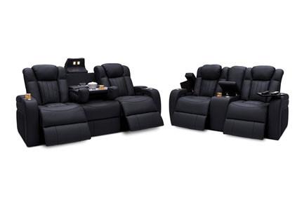 Seatcraft Cavalry Sofa & Loveseat Top Grain Leather 7000, Powered Headrest & Lumbar, Power Recline, Black or Brown