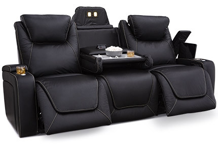 Seatcraft Colosseum Sofa Top Grain Leather 7000, Powered Headrest & Lumbar, Power Recline, Black or Brown