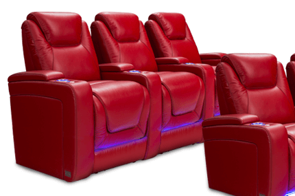"""Seatcraft Equinox BACKROW Theater Seating®, Top Grain Leather 7000, Powered Headrest & Lumbar, Power Recline, 7"""" Riser Built-In, Black, Brown, or Red"""