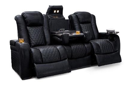 Seatcraft Headline Sofa Top Grain Leather 7000, Powered Headrest, Power Recline, Black, Brown, or Red