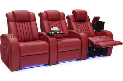 Seatcraft Mantra Top Grain Leather 7000, Powered Headrest & Lumbar, Power Recline, Black, Brown, or Red, Straight Rows