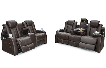 Seatcraft Omega Sofa & Loveseat Leather Gel, Powered Headrest, Power Recline, Black or Brown