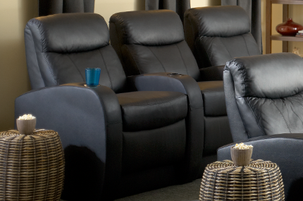 """Seatcraft Rialto BACKROW Theater Seating®, Top Grain Leather 5000, Power Recline, 6"""" Riser Built-In, Black or Brown"""