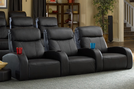 Seatcraft Rialto FRONTROW Theater Seating®, Top Grain Leather 5000, Black or Brown