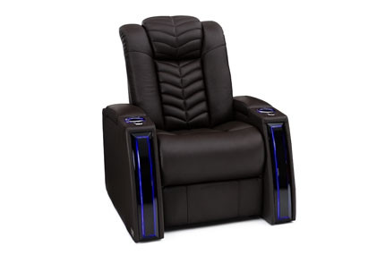 Seatcraft Veloce Top Grain Leather 7000, Powered Headrest & Lumbar, Power Recline, Black or Brown, Single Recliner