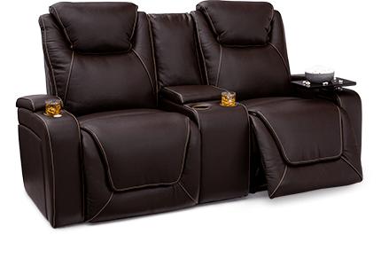 Seatcraft Vienna Loveseat Top Grain Leather 7000, Powered Headrest & Lumbar, Power Recline, Black or Brown