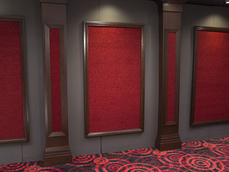 Red SoundRight Wood Framed Wall Panel for Home Theater Acoustics
