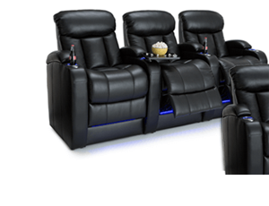 """Seatcraft Grenada BACKROW Theater Seating®, Top Grain Leather 7000, Power Recline, 7"""" Riser Built-In, Black"""