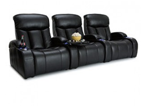 Seatcraft Grenada FRONTROW Theater Seating®, Top Grain Leather 7000, Black