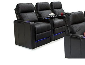 """Seatcraft Monterey BACKROW Theater Seating®, Top Grain Leather 7000, Powered Headrest, Power Recline, 8.5"""" Riser Built-In, Black, Brown, or Gray"""