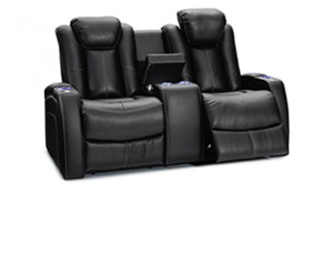 Seatcraft Omega Loveseat Leather Gel, Powered Headrest, Power Recline, Black or Brown