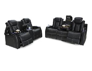 Seatcraft Republic Sofa & Loveseat Top Grain Leather 7000, Powered Headrest, Power Recline, Black or Brown