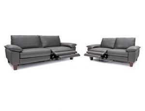 Seatcraft Rook Pillow Top Arm Sofa & Loveseat, Top Grain Leather, Dark Gray or Dark Brown