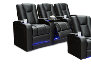 """Seatcraft Serenity BACKROW Theater Seating®, Top Grain Leather 7000, Power Recline, 7"""" Riser Built-In, Black or Brown"""