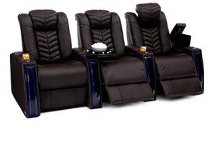 Seatcraft Veloce Top Grain Leather 7000, Powered Headrest & Lumbar, Power Recline, Black or Brown, Straight Rows