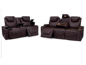 Seatcraft Vienna Sofa & Loveseat Top Grain Leather 7000, Powered Headrest & Lumbar, Power Recline, Black or Brown