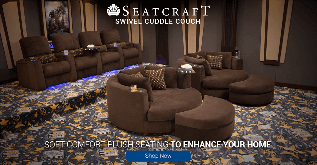 Enhance your home theater with the Soft Plush Comfort of the Seatcraft Swivel Cuddle Couch